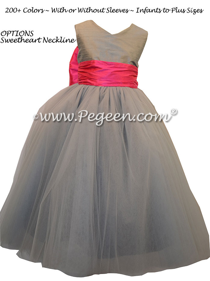 Silk Flower Girl Dresses Morning Gray and Shock Pink | Pegeen