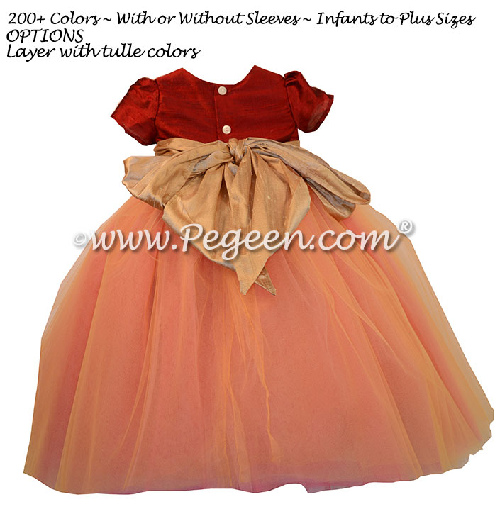 Mountain Fall and Spun Gold tulle ballerina style flower girl dresses
