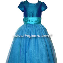 402 Peacock Jr Bridesmaids Tulle Dress-Peacock and Turquoise Tulle Flower Girl Dress with 1/4 cap sleeves