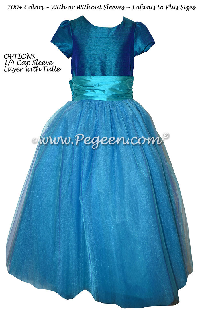 Peacock and Turquoise Tulle Jr Bridesmaid Dress