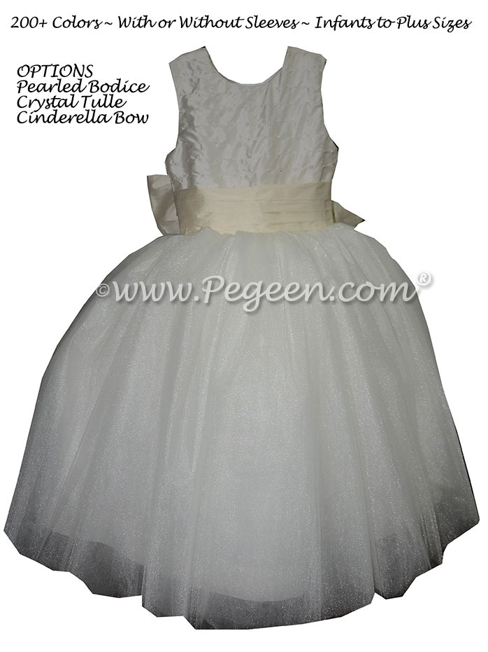 flower girl dress with Pearled Bodice, White Silk and Crystal Tulle | Pegeen