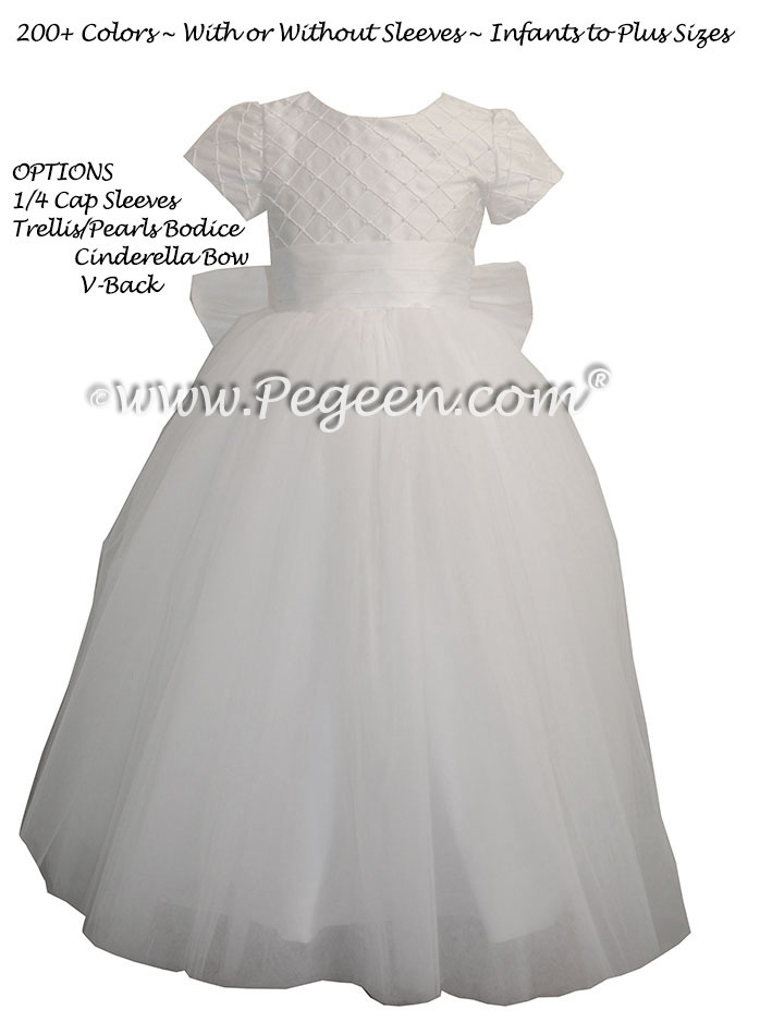 Antique White Trellis with Pearls with Tulle Skirt flower girl dresses