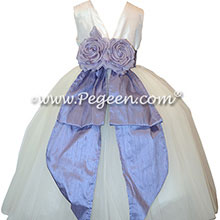 Flower Girl Dresses in Light Orchid and White Silk Style 402