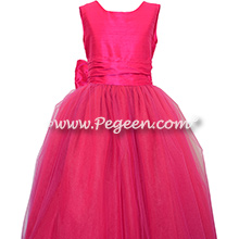 Boing or Hot Pink Silk and Tulle Flower Girl Dresses