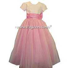 Rose pink and new ivory ballerina style Flower girl dresses with tulle