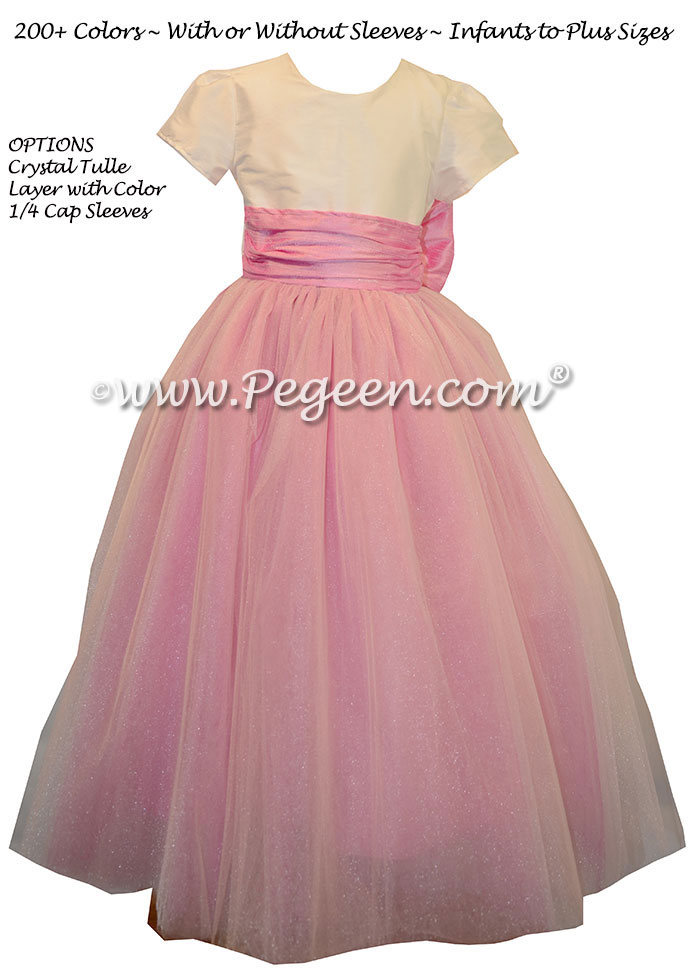Flower girl dresses with tulle in Rose pink and ivory silk | Pegeen