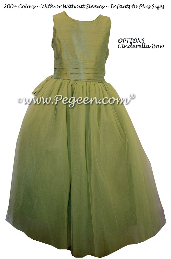 Sage Green Silk and Tulle Flower Girl Dresses