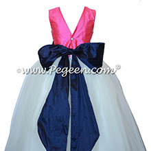 White tulle, navy and hot pink tulle silk flower girl dresses Style 402