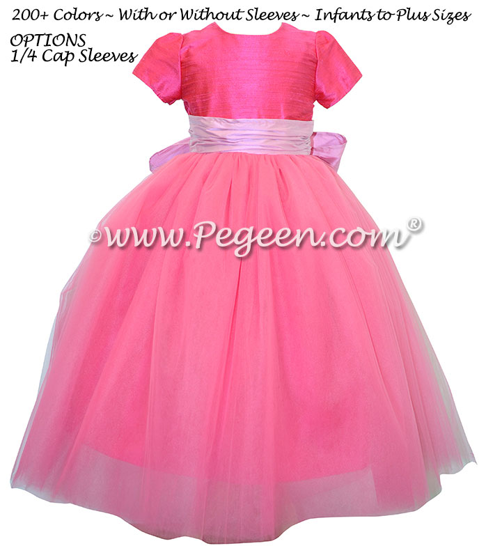 Hot pink tulle flower girl dress on sale