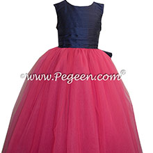 Shock (Hot pink) and Navy Blue silk and tulle ballerina style flower girl dresses