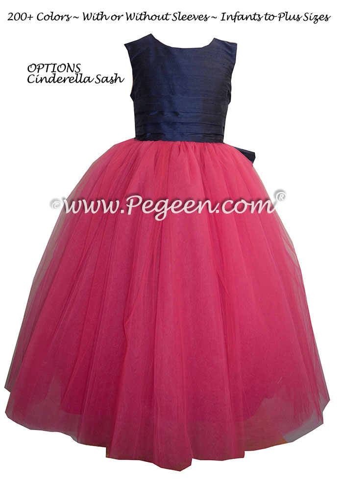 Flower Girl Dress In Shock Pink Navy Blue Silk And Tulle Pegeen