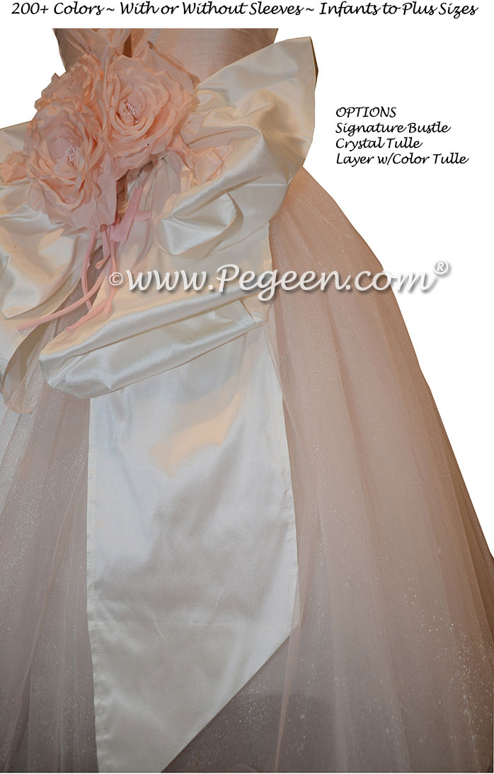 Ballet Pink and Bisque Flower Girl Dresses with Crystal tulle
