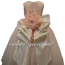 New Ivory and Ballet Tulle Skirt with Signature Bustle - Flower Girl Dress Style 402