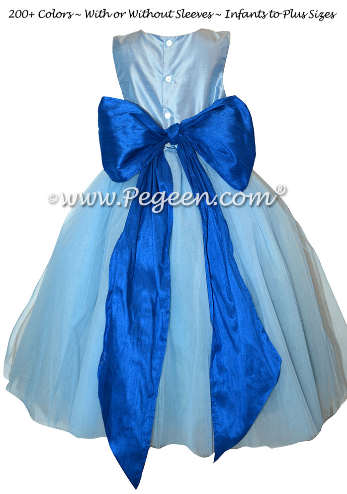 Flower Girl Dress Style 402 - Blue Moon and Sapphire Blue Silk and Tulle Flower Girl Dresses