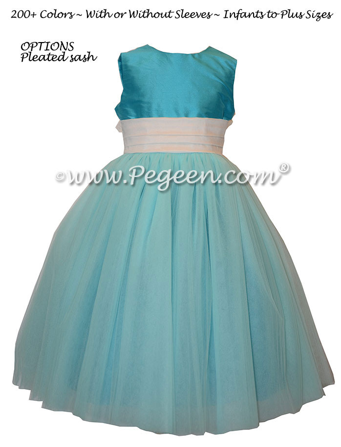 Loved this flower girl dress in tiffany blue - Pegeen Couture Style 402 with Antique White Pegeen Signature Bustle