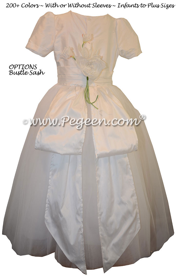 Flowers and Silk Couture Style Antique White Flower Girl Dresses