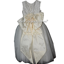 Pearl silk and tulle flower girl dresses