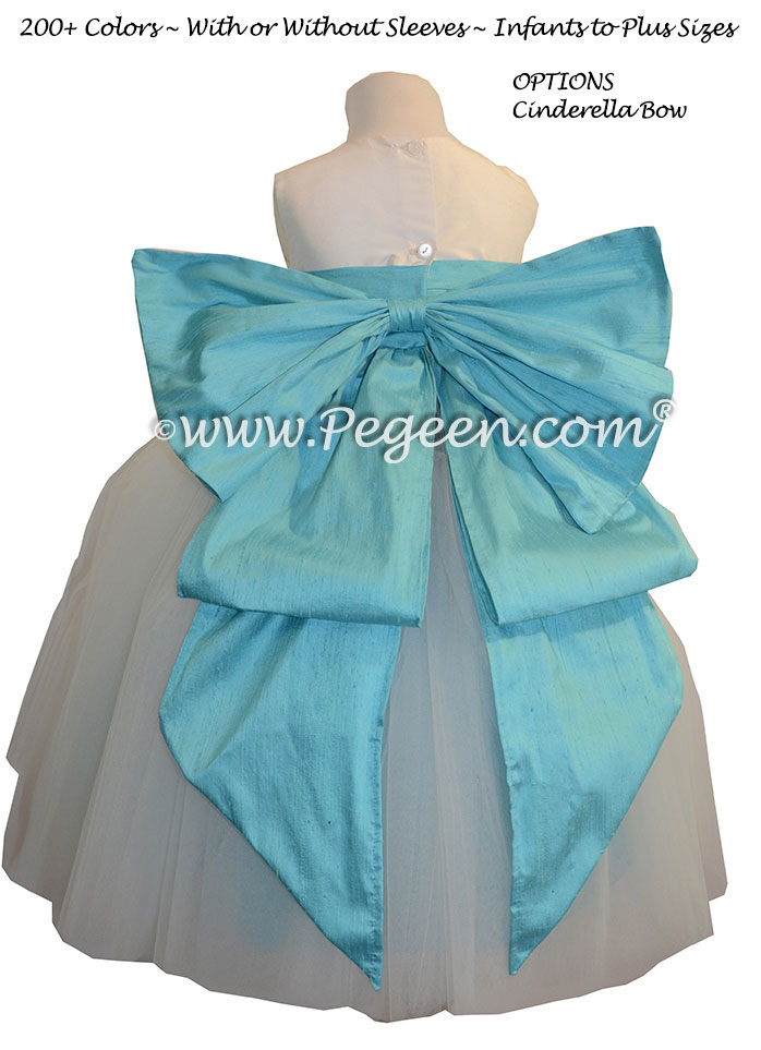 New Ivory and Matisse Blue Silk and Tulle Silk Style 402 Flower Girl Dresses