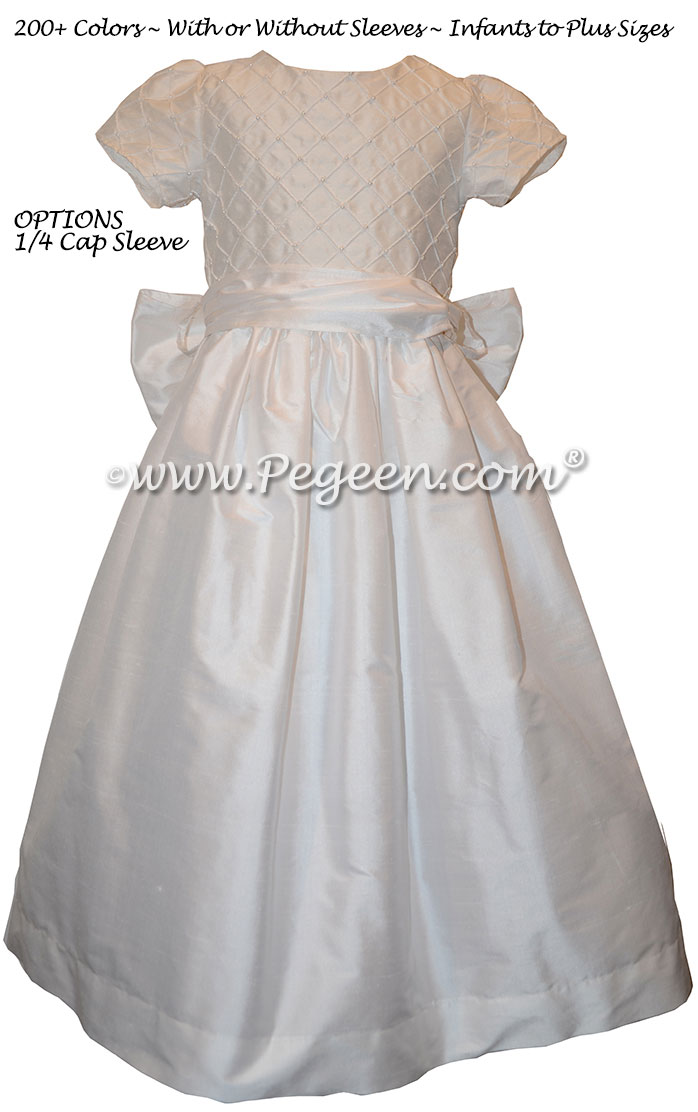 Antique White First Communion Dress Style 409 with 1/4 cap sleeves