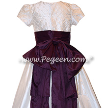 Pintucks and Pearls in White and Eggplant Silk Dress Style 703 by Pegeen
