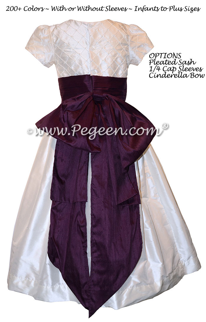Antique White and Eggplant Silk Flower Girl Dress Style 409 with CInderella Bow
