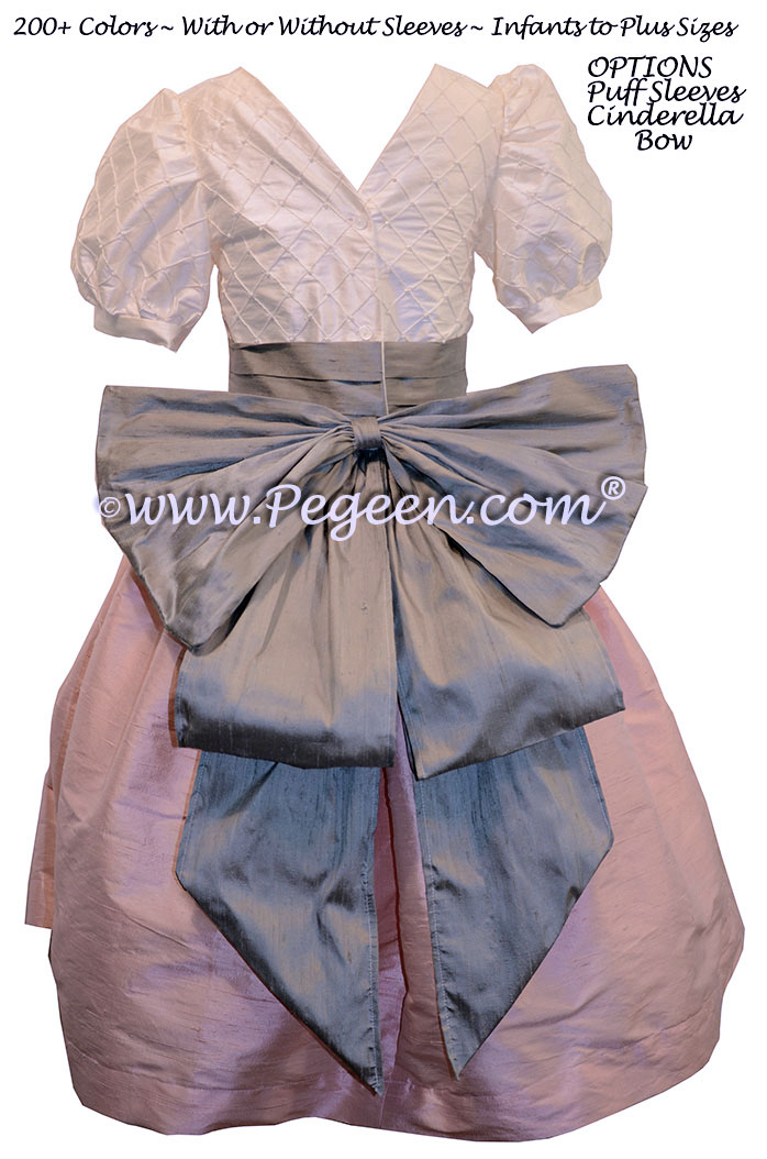 Antique White and Hibiscus Pink and Morning Gray Flower Girl Dress silk flower girl dresses