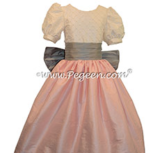 Antique White and Hibiscus Pink and Morning Gray Flower Girl Dress Style 409