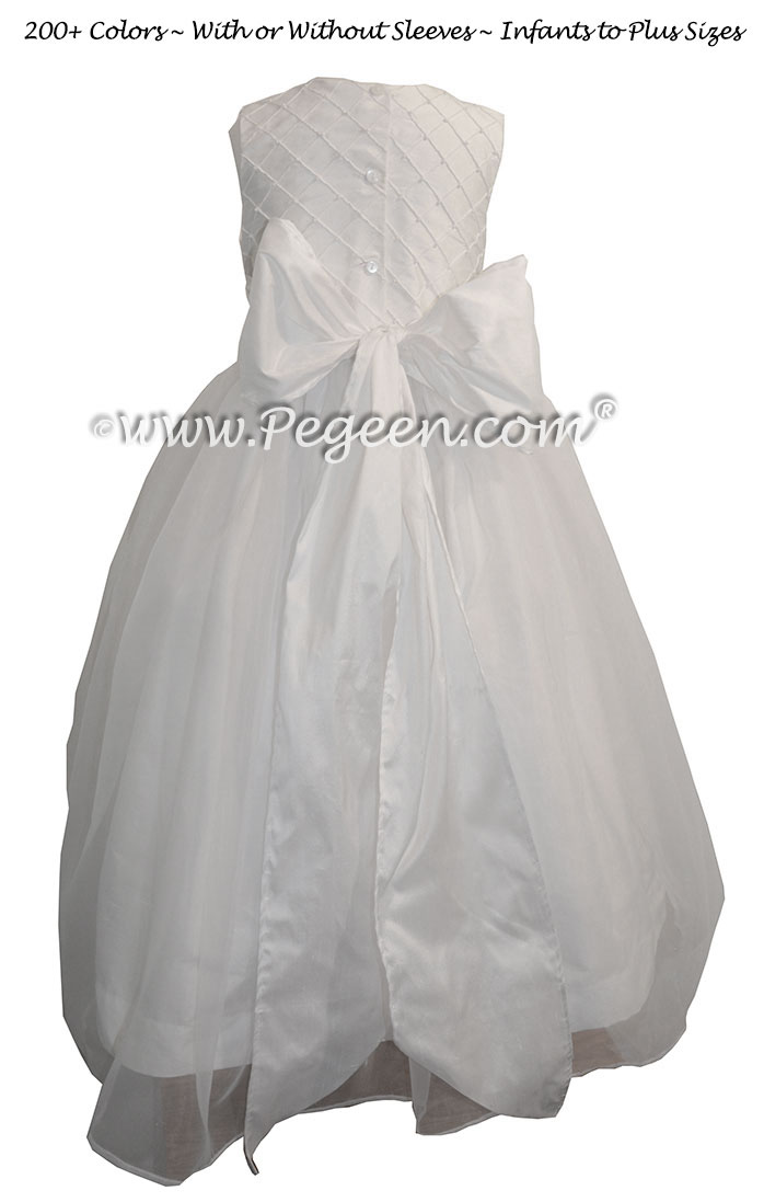 Antique White Trellis with Pearls with Organza Skirt flower girl dresses
