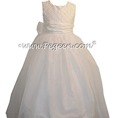 Antique White Trellis with Pearls and Organza Skirt First Communion Dresses Style 409