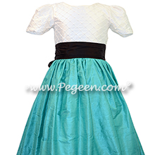Trellis silk bodice paradise teal and black silk flower girl dresses