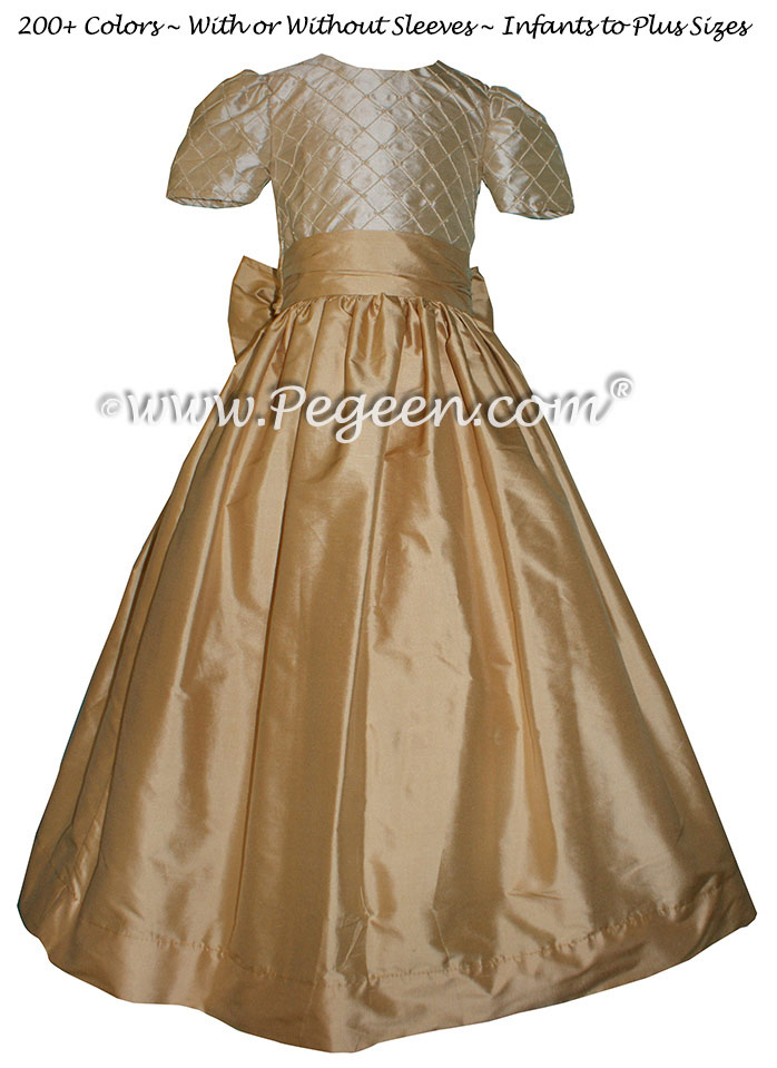 Pure Gold and Tawny Gold silk Flower Girl Dresses STYLE 409