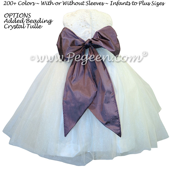 Iris and Antique White Silk and aloncon Lace Tulle flower girl Dresses