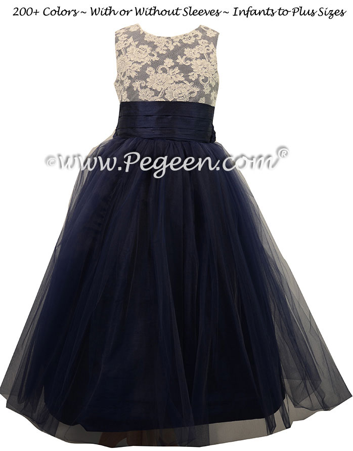 Silk Flower Girl Dresses with Tulle Skirt in Navy Blue | Pegeen