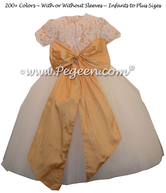 Pure Gold ALONCON LACE CUSTOM Flower Girl Dresses WITH TULLE