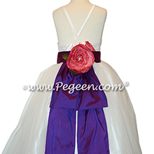 Regal Purple and Antique White flower girl dresses in silk style 424