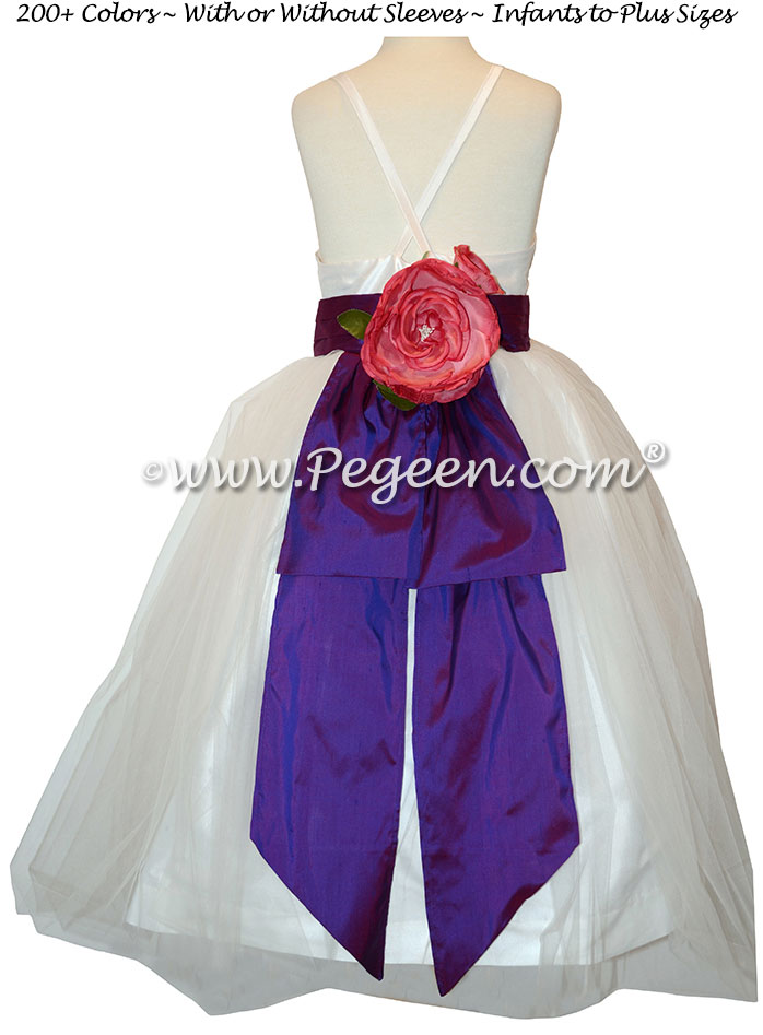 Antique White and Regal Purple silk custom jr bridesmaids dress Pegeen Couture Style 424
