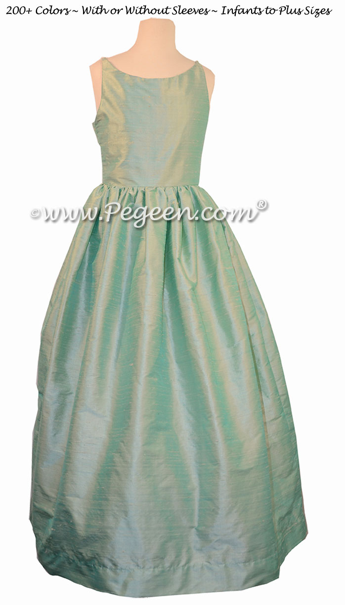 Flower Girl Dress in Sea Side Mint and Ivory Bisque style 424 | Pegeen