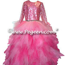 Shock, Raspberry (Fuschia) and Bubblegum Pink Handkerchief Tulle Skirt with Sequin top Style 933