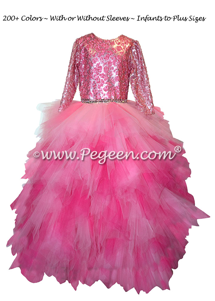 Hot Pink and Bubblegum Pink Handkerchief Tulle Skirt with Sequin Bodice