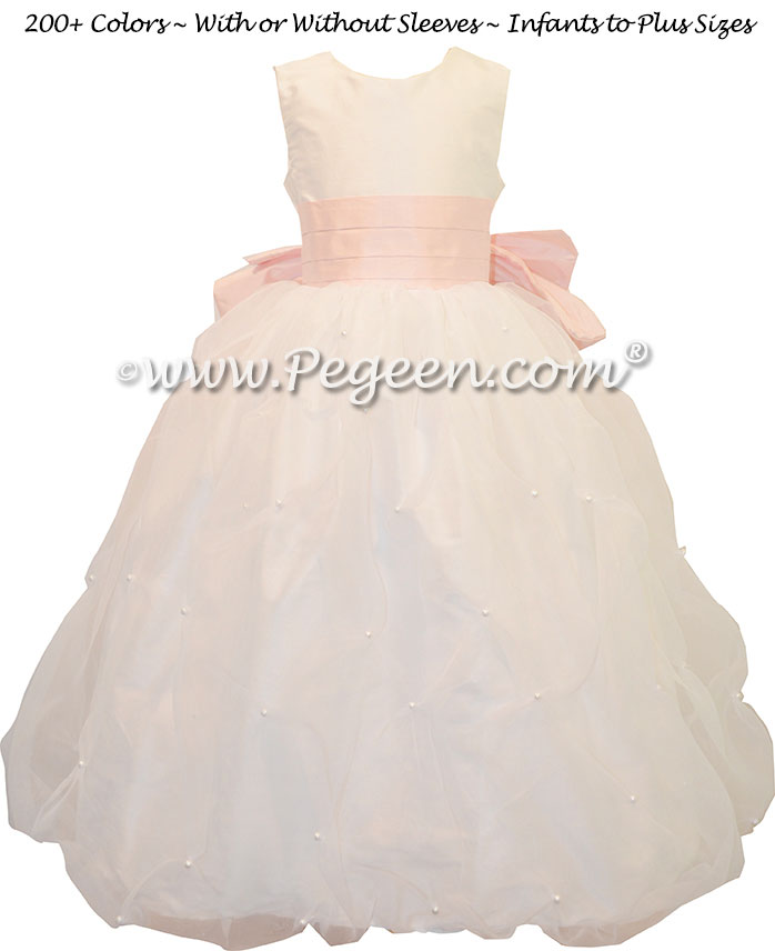 Organza covered with Pearls Antique White and Petal Pink flower girl dress Style 490