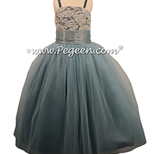 Cadet Blue and Caribbean Tulle Jr. Bridesmaidsor Flower Girl Dress in Caribbean Blue, Cadet Blue and Caribbean with a sequined bodice and spagetti straps