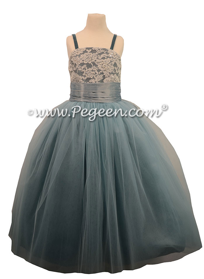 Cadet Blue and Caribbean tulle silk flower girl dresses degas style ballerina tulle dress STYLE 496