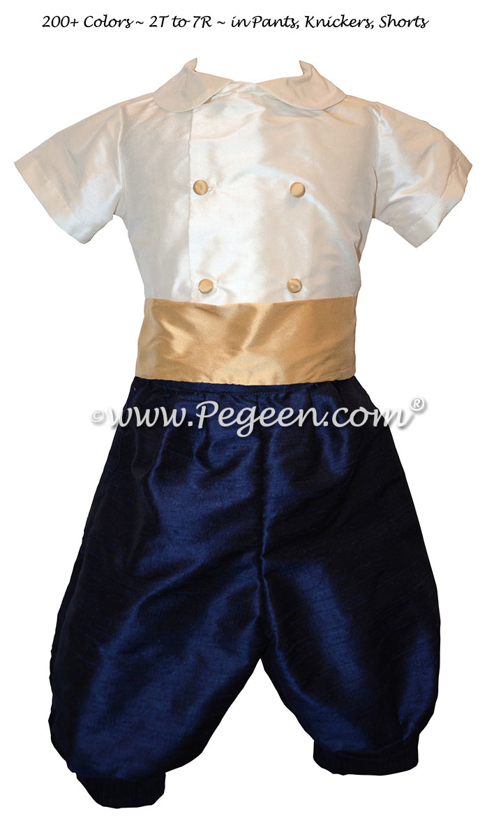 Style 509 Boys Ring Bearer Suit in Pure Gold and Navy Blue