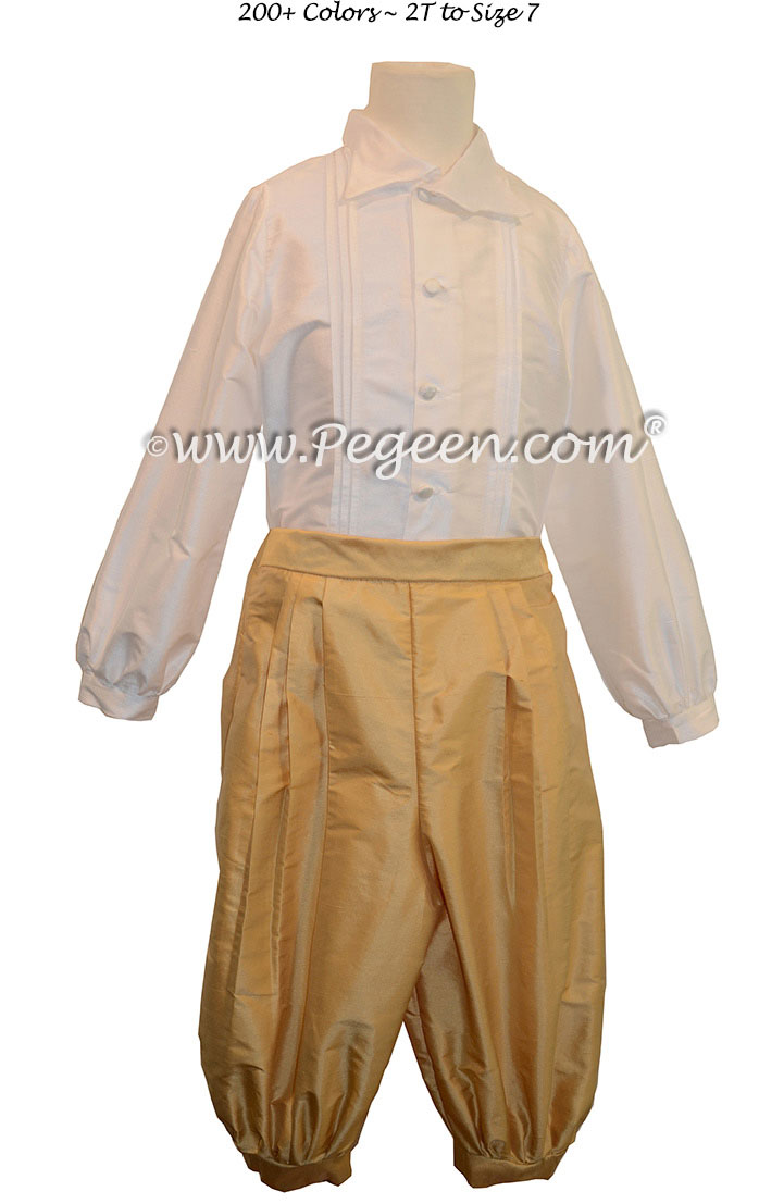 Style 511 Boys Ring Bearer Suit in New Ivory and Spun Gold