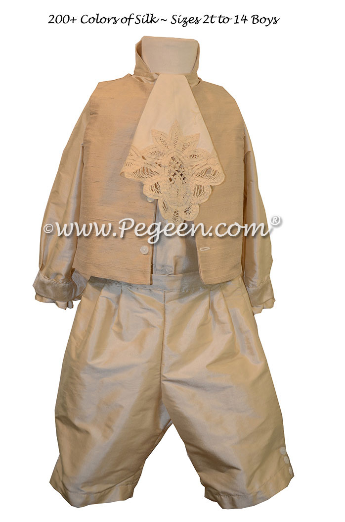 Style 595 Boys Ring Bearer Suit in Summer Tan and Toffee with English Embroidered Top Coat