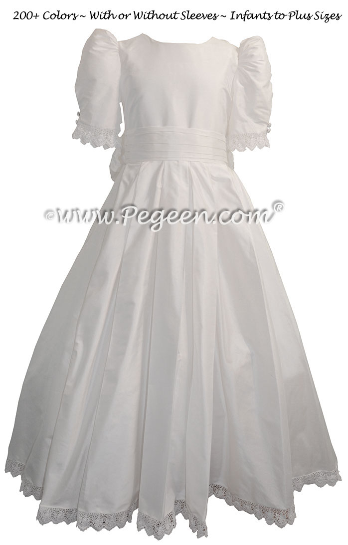 Princess Kate Style Flower Girl Dresses in white silk for a First Communion