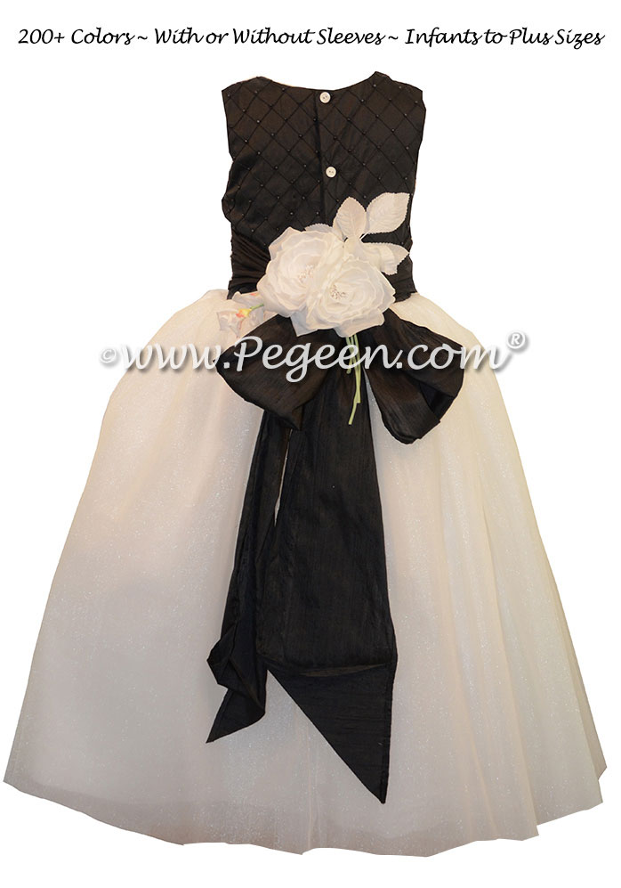 Flower Girl Dress with Crystal tulle, Black Pintuck and Pearls and White  | Pegeen