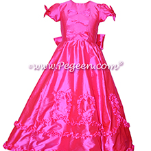 From the REGAL COLLECTION: The Mary tudor - Cerise Hot Pink Flower Girl Dresses Style 690 from Pegeen