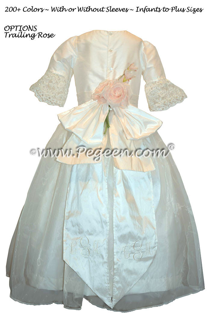 Antique White  Silk Flower Girl Dresses Style 694