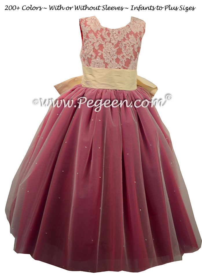 Flower Girl Dress in Lipstick Pink and Ivory ballerina style Style 697 | Pegeen